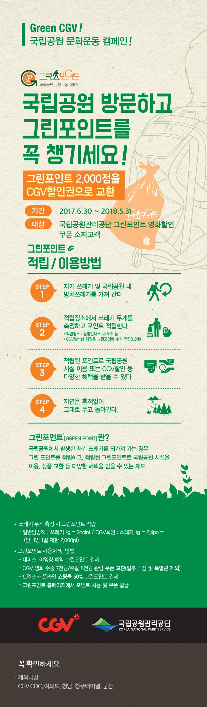 CGV극장별 국립공원 문화운동 캠페인_그린포인트2,000점을 CGV할인권으로 교환