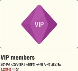 VIP members 2014년 CGV에서 적립한 구매 누적 포인트 1.2만점 이상