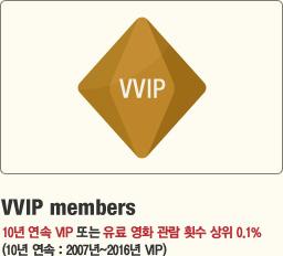VVIP members 10년 연속 VIP 또는 유료 영화 관람 횟수 상위 0.1%(10년 연속 : 2007년~2016년 VIP)