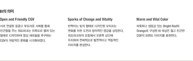 BI의 의미 / Open and Friendly CGV - 서로 연결된 둥글고 부드러운 서체를 통해 친근함을 주는 워드마크는 위쪽으로 열려 있는 형태로 디자인하여 항상 새로움을 추구하는 CGV의 개방적인 문화를 시각화하였다. Sparks of Change and Vitality - 반짝이는 빛의 형태로 디자인된 모티프는 변화를 위한 도전과 창의적인 영감을 상징한다. 워드마크와의 조합에서 오른쪽 상단에 위치하여 전체적으로 발전적이고 역동적인 이미지를 완성한다. Warm and Vital Color - 따뜻하고 생동감 있는 Bright Red와 Orange로 구성된 BI 색상은 젊고 친근한 CGV의 브랜드 이미지를 표현한다.