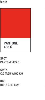 Main - PANTONE 485 C / SPOT - PANTONE 485C, CMYK - C:0 M:95 Y:100 K:0, RGB - R:218 G:40 B:28