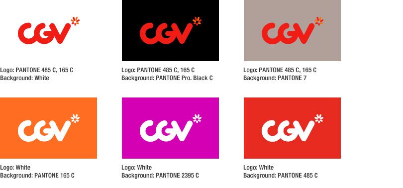 1)Logo: PANTONE 485 C, 165 C. Background: White. 2)Logo: PANTONE 485 C, 165 C. Background: PANTONE Pro. Black C. 3)Logo: PANTONE 485 C, 165 C. Background: PANTONE 7. 4)Logo: White. Background: PANTONE 165 C. 5)Logo: White. Background: PANTONE 2395 C. 6)Logo: White. Background: PANTONE 485 C.