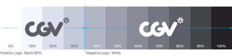 Positive Logo: Black 80%는 명도 0~30%내에서 사용. Negative Logo:White는 명도 40~100%내에서 사용.