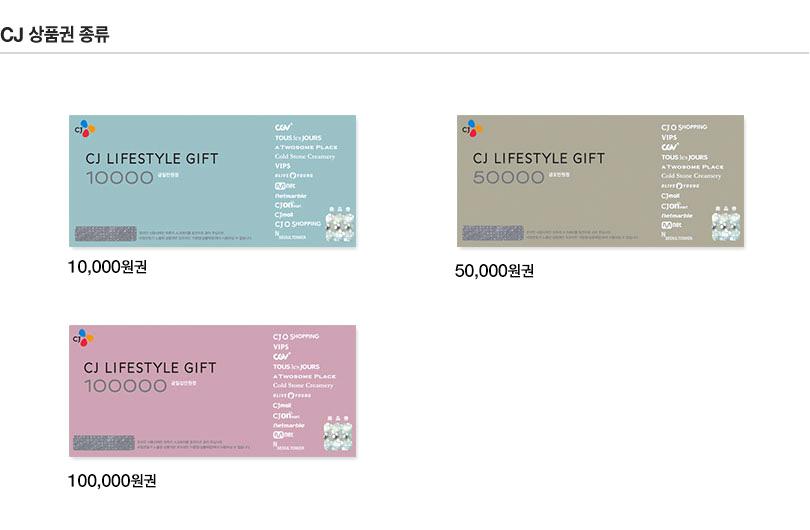 CJ 상품권 종류 - CJ LIFE STYLE GIFT 5000원권, CJ LIFE STYLE GIFT 10000원권, CJ LIFE STYLE GIFT 50000원권, CJ LIFE STYLE GIFT 100000원권