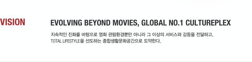 VISION - Evolving beyond movies, Global No.1 Cultureplex 지속적인 진화를 바탕으로 영화 관람환경뿐만 아니라 그 이상의 서비스와 감동을 전달하고,Total lifestyle을 선도하는 종합생활문화공간으로 도약한다.